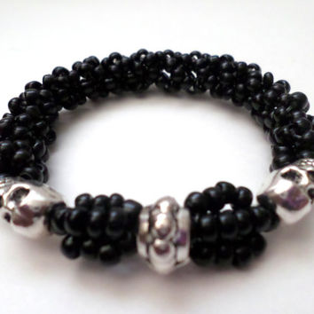 Black Beaded Extensible Bracelet | Silver Skull Bracelet | Men's Jewelry | Holidays Gift | Handmade in USA | No Use of Kumihimo Kit