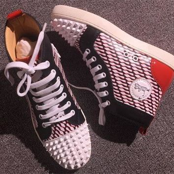 Cl Christian Louboutin Lou Spikes Style #2215 Sneakers Fashion Shoes - Best Online Sale