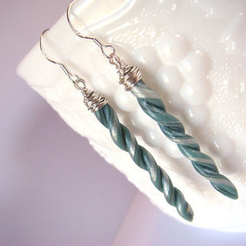 Long Spiral Earrings  Teal Seafoam and Pearl Polymer by JustClayin