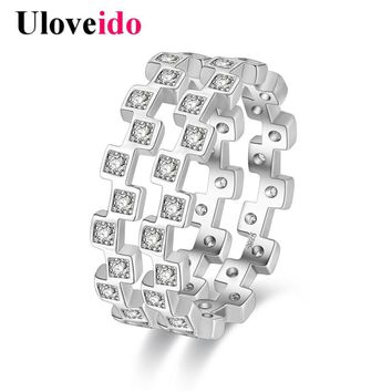 Uloveido 2 PCs Removable Wedding Rings for Women Vintage Jewelry Ring with Stone Anel Masculino Bijouterie Bague Gifts PJ4283