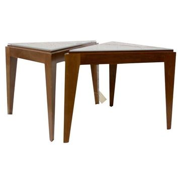 Pre-owned Triangular Wooden End Tables - A Pair