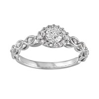 Diamond Halo Engagement Ring in 10k White Gold (1/2 Carat T.W.)