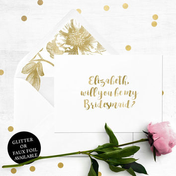 Will you be my Bridesmaid Card-Personalized Bridesmaid Proposal-Maid Of Honor, Flower Girl, Proposal-Unique Calligraphy Bridesmaid Card