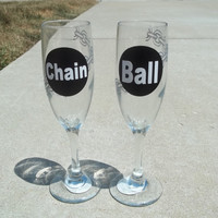 Ball and Chain Champaign Flutes by TheCraftyGeek86 on Etsy