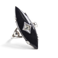 Vintage Art Deco Style Ring -  Size 8 Signed Vargas Black Stone & Rhinestone 18K White Gold HGE Jewelry / Artistic Points