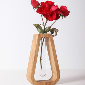 Modern Bud Vase made from Solid Oak Wood / With Glass Tube / For Cut or Dried Flowers / Elegant decor / MARTA / Made by DABA