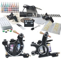 Professional 2 Tattoo Gun Tattoo Kit with Tattoo Power Supply/20 Colors Tattoo Ink/Tattoo Needles/2 Tattoo Machine/other Tattoo Supplies MGT29