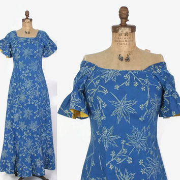 Vintage 50s HAWAIIAN DRESS / 1950s Blue Floral Print Cotton HoloMuu Maxi Dress