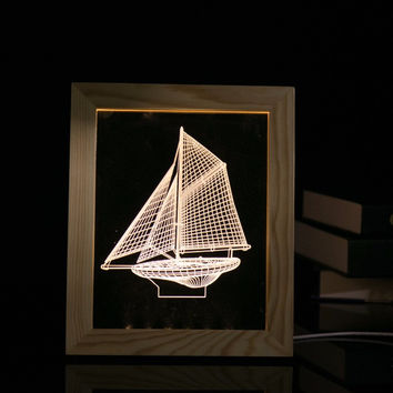Sailing Boat LED 3D Visual Creative Wood Acrylic Table Lamp Photo Frame Lamp Night light with USB