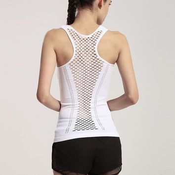 Hollow-out Sport Fitness Shirt Women Gym Clothes