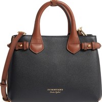 Burberry Small Banner House Check Leather Derby Tote | Nordstrom