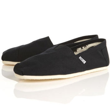 Toms Original Black Canvas Slip On Shoes