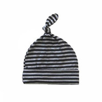 Baby Knotted Hat, Striped Infant Hat, Top Knot Baby Beanie- Black and Grey
