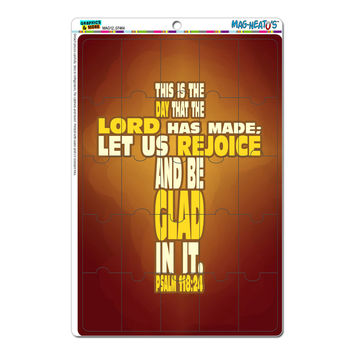 Bible Verse as Cross Psalm - Religion Christianity Jesus Catholic This is the day that the Lord has made MAG-NEATO'S TM Puzzle Magnet