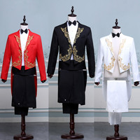Fashion Tailcoat Suits Mens Embroidery Gold Red Black White Blazers Magician Dress Stage Singer Prom Wedding Groom Male Tuxedo