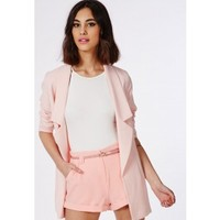 Missguided - Neela Baby Pink Tailored Shorts With Belt