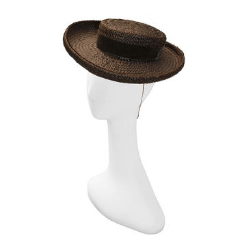 Mid Century Breton Straw Hat in Chocolate Brown by Wilshire of California