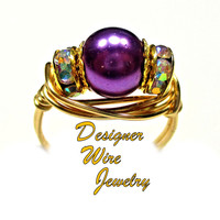 DWJ0448 Gorgeous Purple Dreams Czech Art Glass Pearl Solitaire Gold Wire Wrap Ri