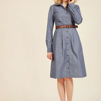 Broadcast Coordinator Shirt Dress in Chambray | Mod Retro Vintage Dresses | ModCloth.com
