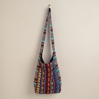 Multicolored Woven Cross-Body Hobo Bag - World Market