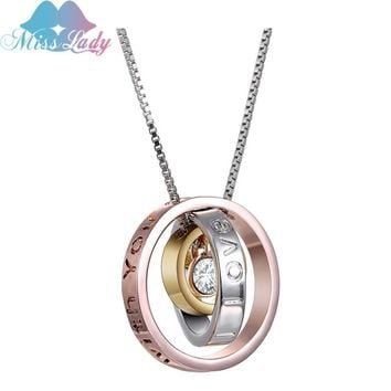 Miss Lady  I Love You Always be with you Mom Engraved Script Trinity  Pendant Necklace Made  family Fashion Jewelry MLK0034