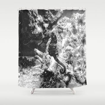 The Single Seahorse Shower Curtain by gwendalyn abrams