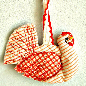 Handmade textile hen ornament red & white by BozenaWojtaszek
