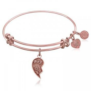 Expandable Bangle in Pink Tone Brass with Best Friends Forever Symbol