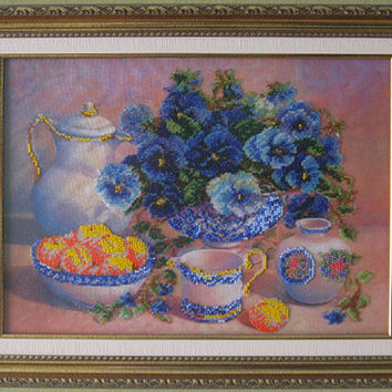 "Free shipping.Bead embroidery on art canvas ""Still life"" - Beads picture. Blue&yellow.Beadwork pictures"