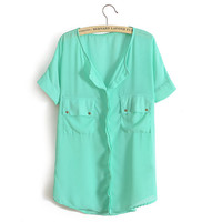 Casual Solid Color Chiffon Shirt -Mint