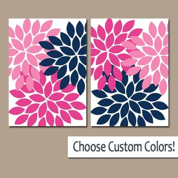 Navy Pink WALL Art, Canvas or Prints, Navy Blue Pink Bathroom Decor, Bedroom Pictures, Floral Nursery Decor, Flower Burst Petals, Set of 2