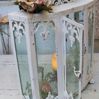White rusted display case glass metal observation box or shrine elaborate home decor Anita Spero