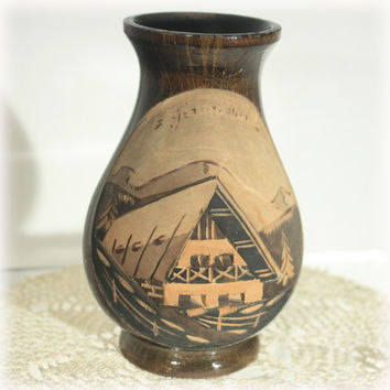 French Carved Wood Vase