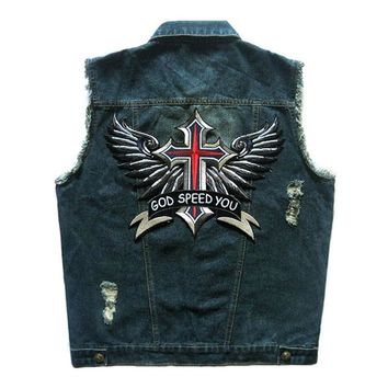 Trendy HEROBIKER Motorcycle Rider Vest Clothing Classic Vintage Biker Motorcycle Vest Men Club Denim Vest Sleeveless Motorcycke Jacket AT_94_13