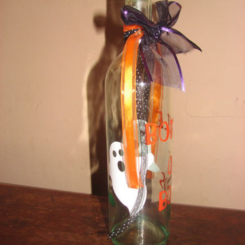 Bottle of Boos Halloween Bottle, Decorative Halloween Bottle, Holiday Wine Bottle Decoration, Decorative Wine Bottle