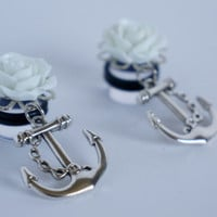 "00g 1/2"" 9/16"" 5/8"" White Rose Nautical Anchor Dangle Plugs Gauges 10mm 12mm 14mm 16mm"