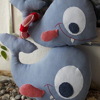 Blue whale toys mother and baby - Blue whale cotton toy -  baby shower gift -  Kids room decoration - home decor - soft toy