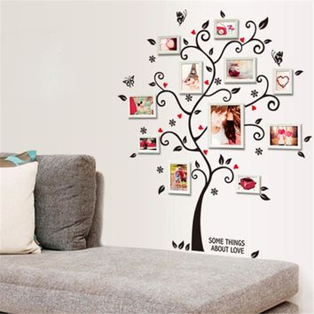 Black Family Photo Frame Tree Butterfly Flower Heart Diy 3D Art Wall Sticker Living Room Decor Room Decals Vintage Poster