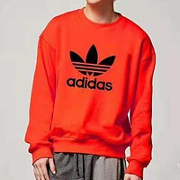 ADIDAS trend chest classic big logo round neck sports long sleeve bottoming shirt orange