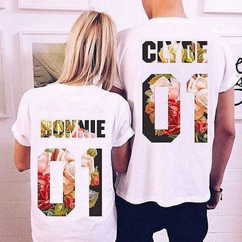Bonnie and Clyde Short Sleeve Couples T Shirt