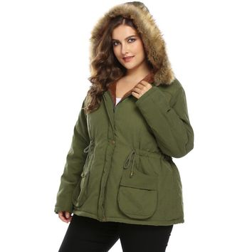Parka Jacket : Faux Fur Hooded Parka Jacket