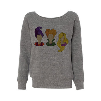 Wideneck - Hocus Pocus Heads - Halloween Oversized Sweatshirt Sweater Ladies Womens Slouchy Outfit