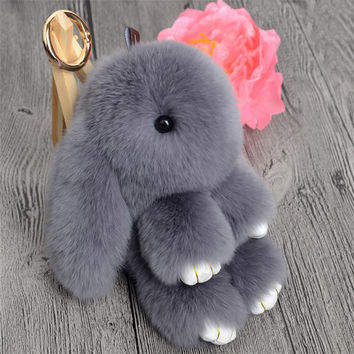 Cute Mini Genuine Rabbit Fur Pom Pom Key Chain