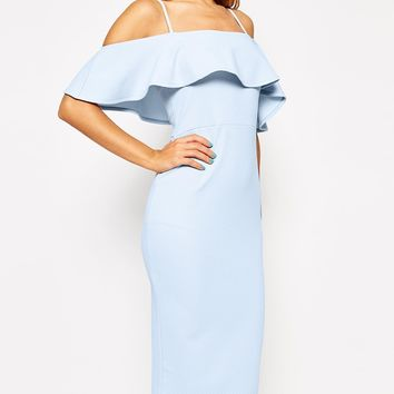 ASOS Textured Frill Midi Bodycon