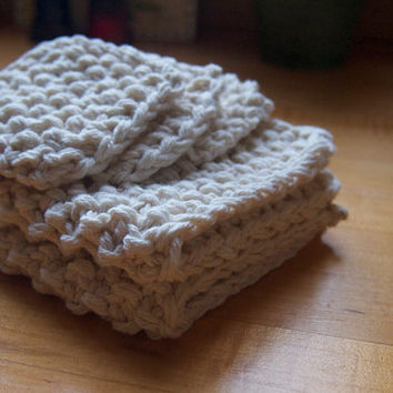 hand knit natural ecru white cotton washcloth and 3 facial scrubbies bath set