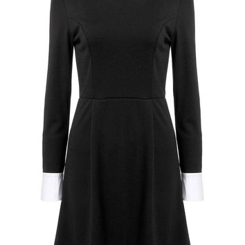 Black Dress with Stand Collar