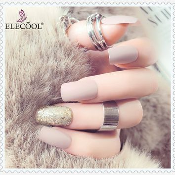 ELECOOL 24PCS Nude Nail-finished  Matte Frosted and Elegant Medium and Long Length Bright Fake Nail Patch Artificial Nails