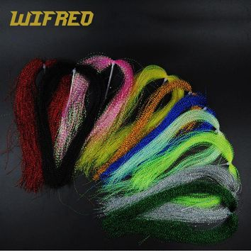 Wifreo 10 Packs Sparkle Flashabou Tinsels Black Chartreuse Pearl Pink Color Sabiki Treble Hook Lure Flash Fly Tying Material