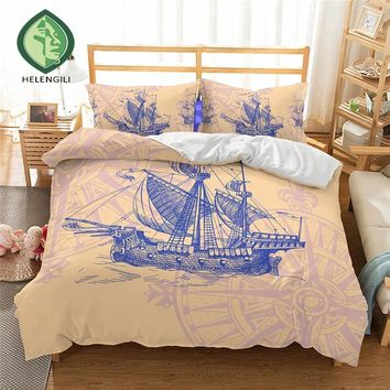 HELENGILI 3D Bedding Set Ship's anchor Print Duvet cover set lifelike bedclothes with pillowcase bed set home Textiles #2-02