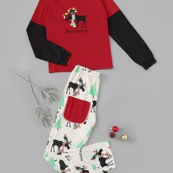 Christmas Deer Print Colorblock Pajama Set